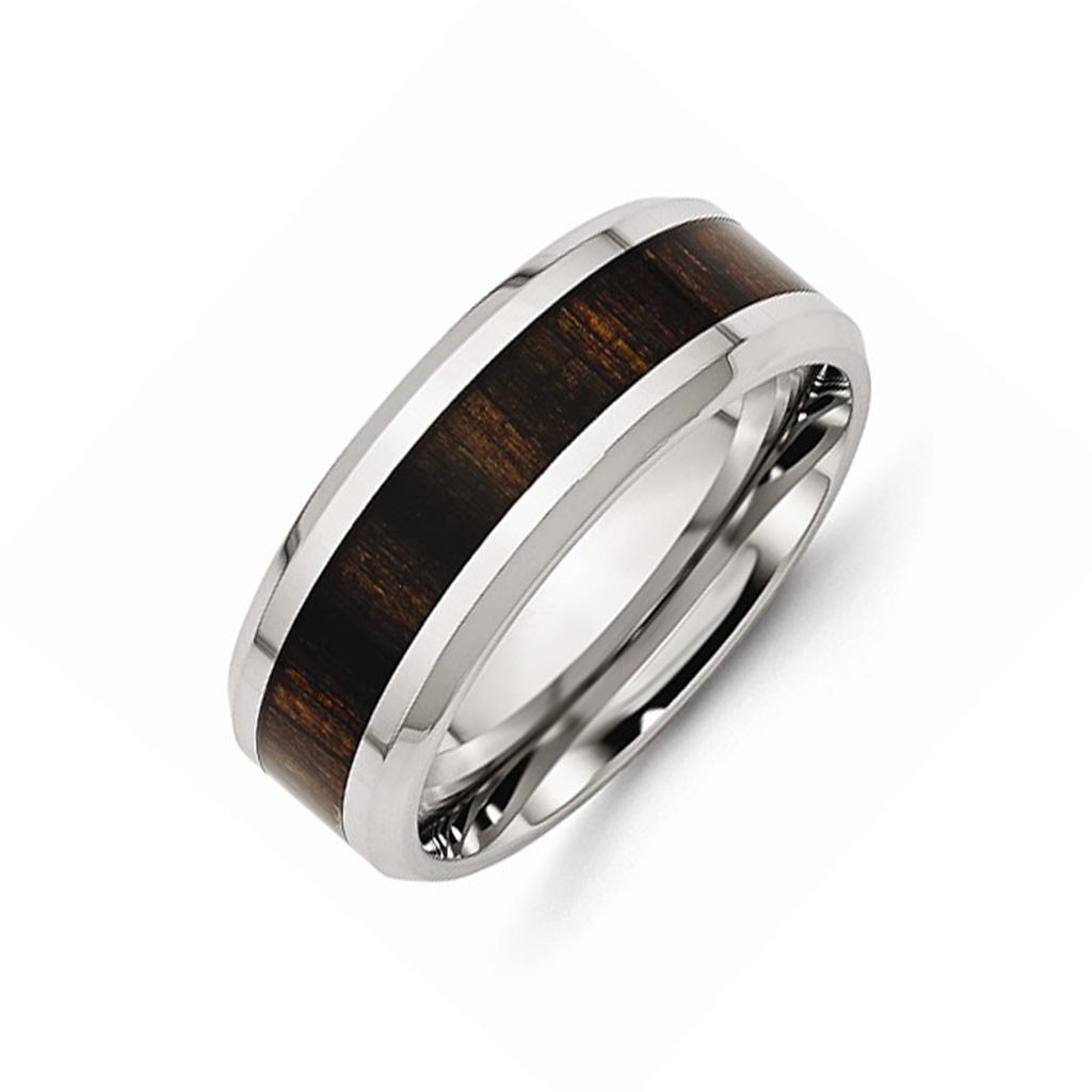 darkwood stainless steel wedding band