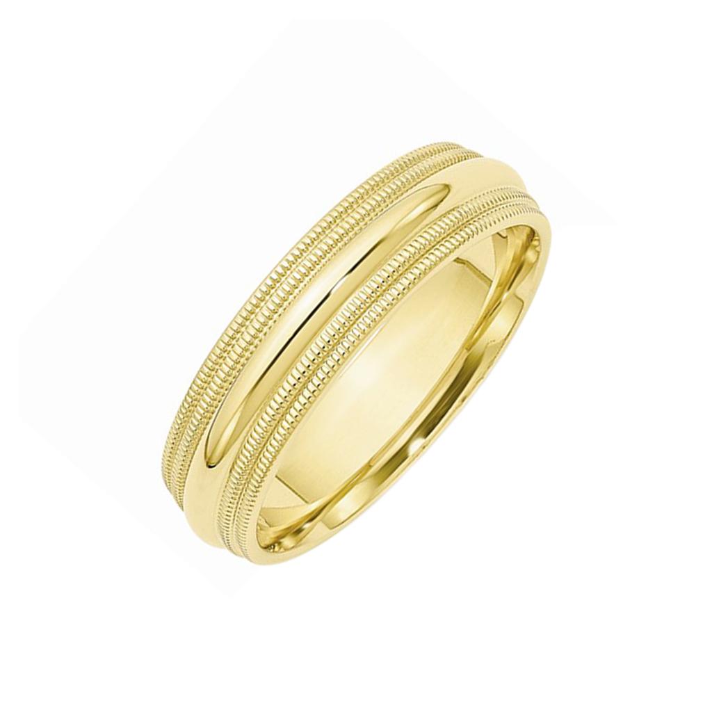 Platinum Double Milgrain 6mm Wide Flat Wedding Band Ring: 6Mm Double Milgrain Comfort Fit Prestige Wedding Band